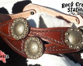 Spur Strap Concho Belt, Womens, Handmade Leather, Hand Tooled