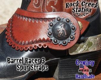 Spur Straps Barrel Racer 3 Herman Oak Bridle Leather, Handmade Arizona USA