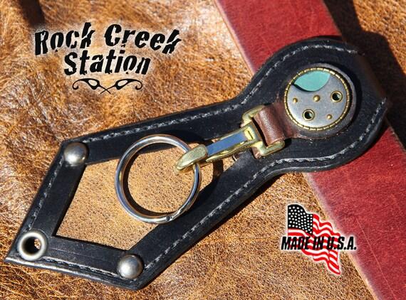Steampunk Belt Key Ring Fob w/Watch Workings Concho, Handmade Leather