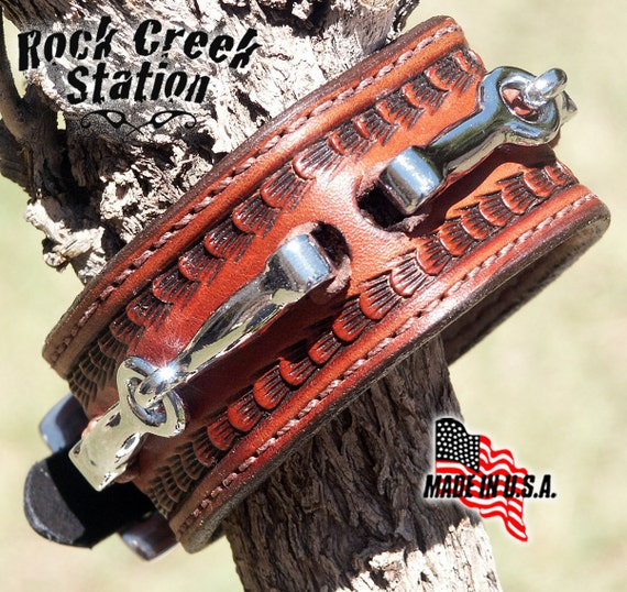 Snaffle Bit Leather Wrist Cuff with Miniature Snaffle Bits, Stainless Steel Buckle,  Handmade, Lined