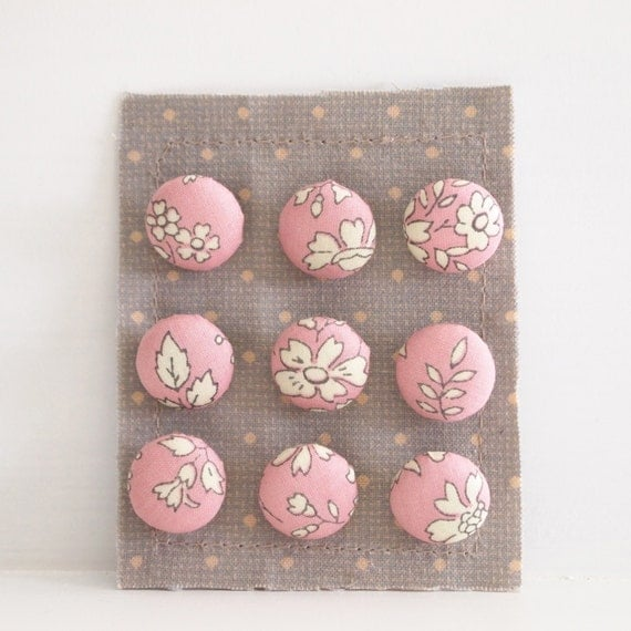 Fabric Covered Buttons Small On A Card - .59 inch (15mm)  - Liberty Floral