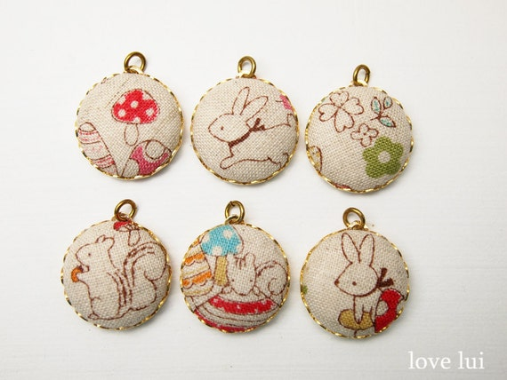 Charms Fabric Covered 20mm Forest Friends - Set Of 6 (set 6)