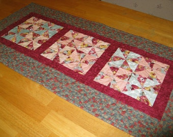 Quilted Spring Table Runner, mint green, burgandy and peach
