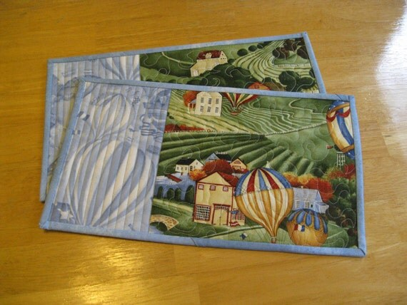Mug Rugs/ Snack Mats /Small Placemats, Air Balloons, Set of Two