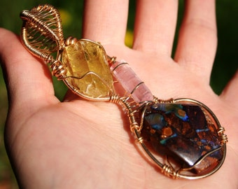 Infinity Heliodor Pink Tourmaline Boulder Opal Pendant Wrapped in Gold Filled Wire