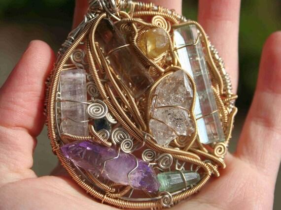 Sky and Moon Pendant with Vera Cruz Amethyst, Aquamarine,Smoky Quartz,Heliodor,Herkimer Diamond,Sapphire,Tourmaline and Apophyllite