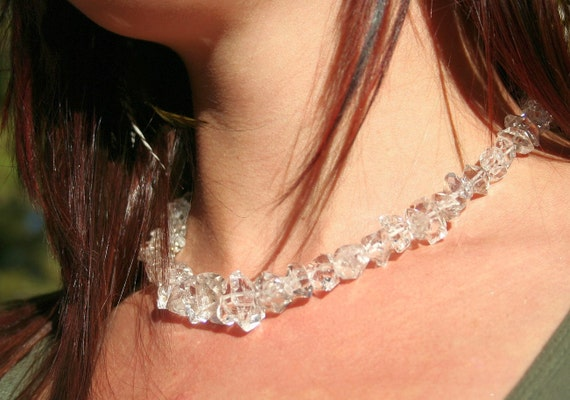 Herkimer Diamond Crystal Necklace Himalayan Diamond Clear Quartz Beads with Sterling Silver Clasp