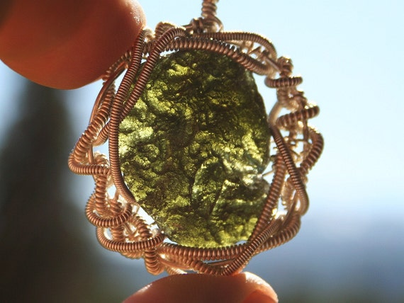Moldavite Green Meteorite Stone Wire Wrapped with Sterling Silver Pendant