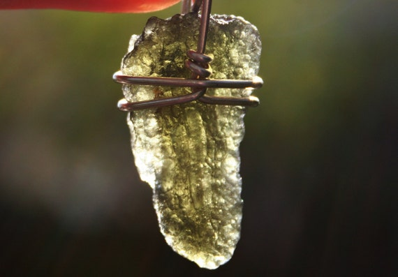 Moldavite Wire Wrapped Green Meteorite Pendant in Sterling Silver