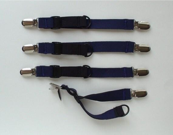 Stroller Blanket Strap: Navy Blue Cinchables (set of 4)
