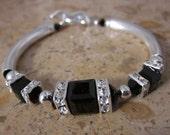 Jet Black Swarovski Sterling Silver Tube Bracelet