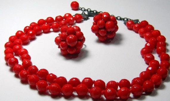 Germany Glass Necklace Red Set Vintage Pre WWII  Early 40's Choker