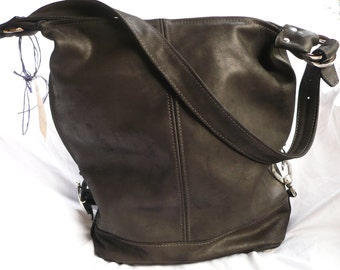 Made to Order Luna Jaze Black Italian leather handmade bag, Murphy Travel Bag