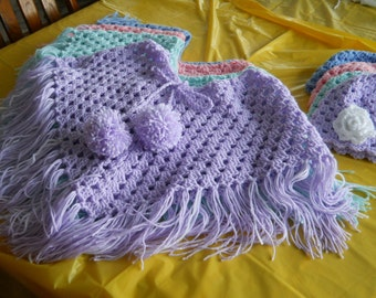 little girls poncho and hat