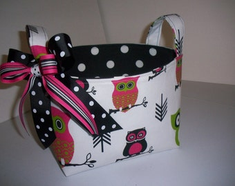 Owls fabric Organizer Bin / Basket- Pink Green & Black
