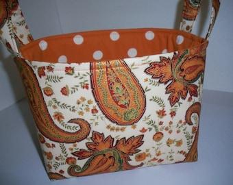 Fall Pumpkin Colored Paisley Fabric Organizer Bin / Basket
