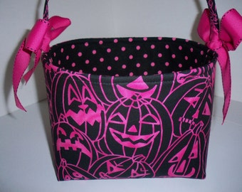 Fabric Halloween Basket / Bag / Tote -Hot pink Crazy Pumpkins- Personalization Available