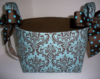 Blue Brown Damask Storage Bin Fabric Basket / Diaper caddy / Easter Basket