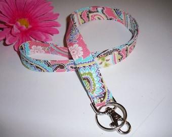 Lanyard ID Badge Holder -Michael Miller - Pink Brown Paisley