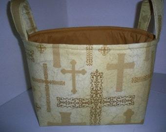 Crosses / Fabric Organizer Bin / Basket
