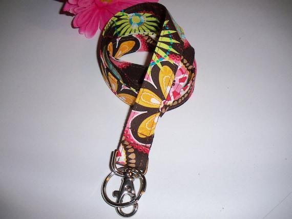 Lanyard ID Badge Holder - Pink Brown Michael Miller Carnival