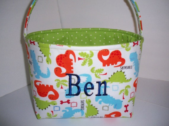 Dinosaurs Organizer bin / Fabric Basket / Small Diaper caddy - Personalization available