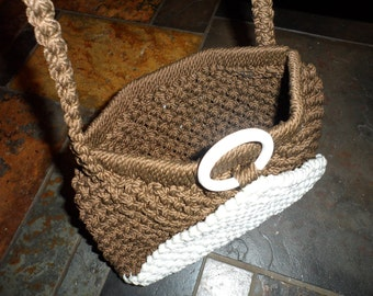 1970s  vintage brown and white knotted yarn    rope handbag with metal closure