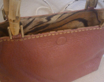 plinio visona  designer reversible  italian vintage pink leather or tiger striped handbag with bamboo look handles