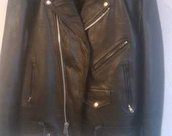 """Elvis themed  leather motor cycle jacket """" Philadelphia Pa""""  bar  Blue Suede Saloon mens size size 50or xl"""