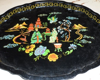 mandarin garden serving tray baret ware made in england  great colors 1950s