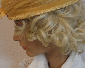 1960s  bambergers nj  straw hat gold yellow  with tulle netting just a beautiful hue ..classic