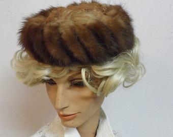 fur  mink little   netted hat     1950s   1960s