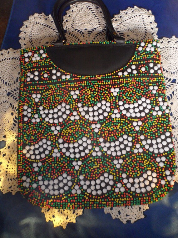 vintage black  bead purse  lots of color and flare