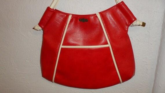 hot red and white trim 1970s handbag by  fs originals super 70s