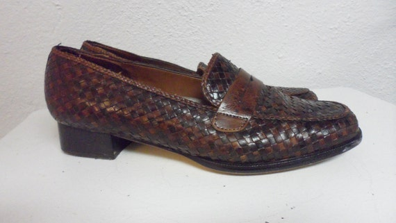trotters woven    brown loafer style   skimmer flat shoes   size 9 m