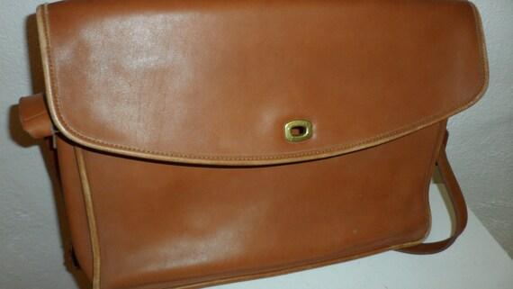 SALE vintage coach saddle color briefcase   laptop bag  messenger bag  shoulder or handle  bag  file bag  unisex  grain leather briefcase