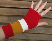 Fingerless gloves, arm warmers, txting gloves, gauntlets, commuter mitts, eco sensitive, recycled sweater in Red/White/Mustard