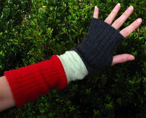 Fingerless gloves, arm warmers, txting gloves, gauntlets, commuter mitts, upcycled, eco sensitive, recycled sweater in Grey/Mint/Red