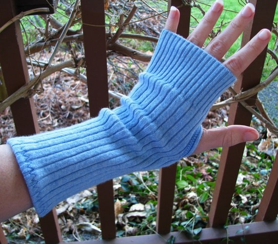 Fingerless commuter gloves, texting mitts, gauntlets, arm warmers, upcycled, eco sensitive, recycled sweater in Light Blue