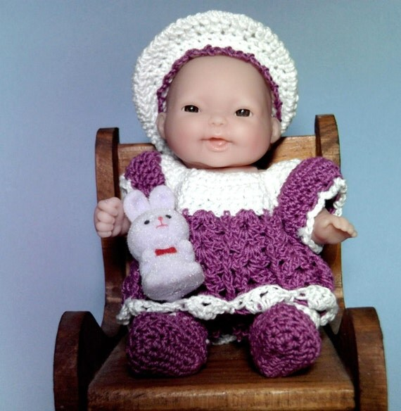 Berenguer Lots to Love Doll Purple and White Hand Crocheted Dress