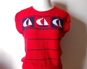 Vintage SAILBOAT Red Sweater with White and Blue Design - Size Large