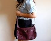 Vintage Leather Purse - Etienne Aigner Oxblood Leather Shoulder Bag with Adjustable Strap