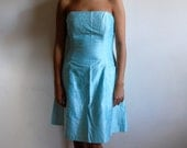 65% off blowout sale - Vintage Dress - Teal Shimmer Strapless Silk Cocktail Dress with Pockets - Size Small/Medium - NYE Dress