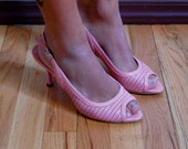 Vintage Heels - Pink Leather Cut Out Heels - Claudio Fracassa - Made in Italy - Size 6.5 / 7