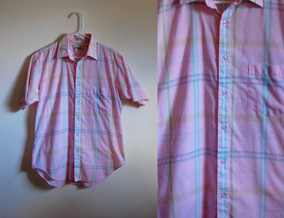 Vintage Men's Shirt - Short Sleeve Pastel Pink Plaid Button Down- Menswear International - Size Medium