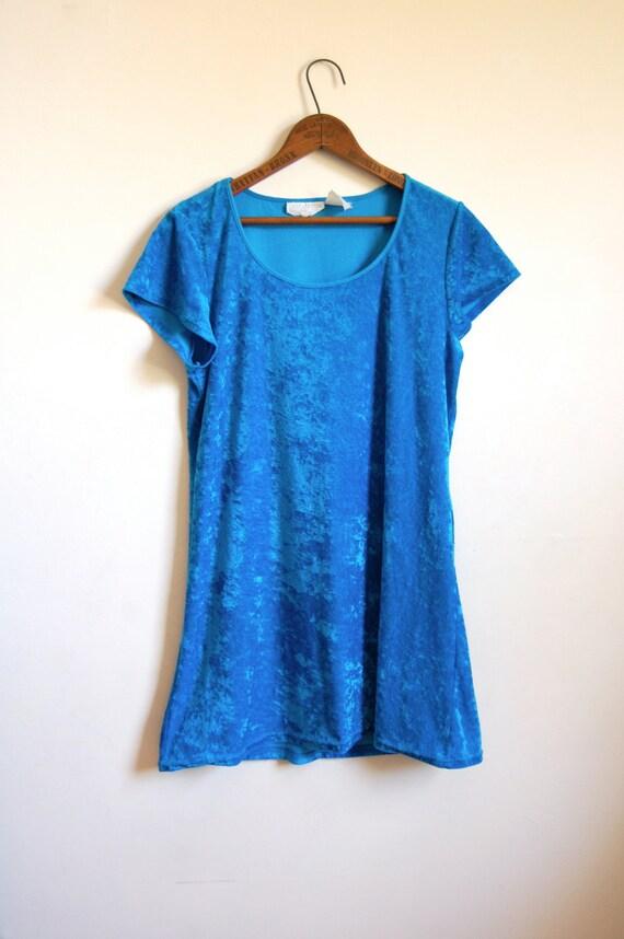 SALE - Vintage Velvet Dress - Bright Blue Crushed Velvet Mini Dress with Short Sleeves - Size Small/Medium
