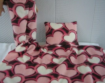 Doll Clothes for 18 Inch American Girl doll.  Pajama Pants Blanket Pillow Set. Hearts Fleece Set Pink Chocolate Brown.