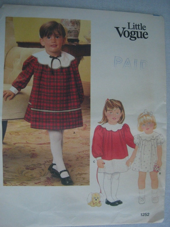 Vintage Little Vogue 1252 V1252 Dress Childrens Girls Pattern size 3