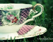 Alice in Wonderland,, 5x7, Vintage Teacup, Fine Art Photograph, Kitchen, Pretty, tea lover, print, photo, england, fine china, pink, green,