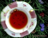 Surreal, Whimsical, Lady Bird Tea, 8x10 Fine Art Photograph, Vintage Tea Cup, Birds, silhouettes, tea leaves, gift for her, tea lover
